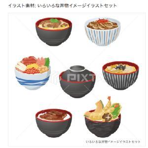 いろいろな丼物のイメージイラスト素材/PIXTA