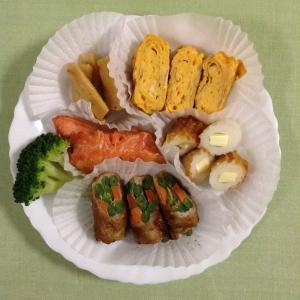 野菜の豚肉巻と紅鮭