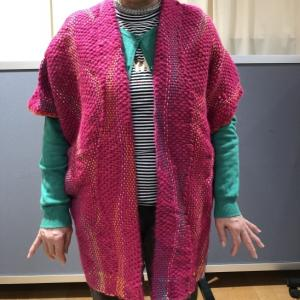 元気カラーで元気を頂きました!Aさんのよろけ織りのベスト@みんなの作品