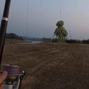 投げ練用の安全で飛ばないオモリを作って河原で投げ練!!