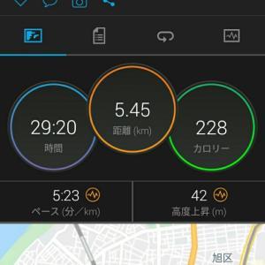 6月13日(大阪市5.4km)体調不良と土砂降りラン