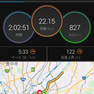 9月19日(大阪市22Km)2時間走