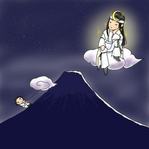 闇夜に聳える富士