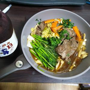 【韓国家ごもり】 おやじ御飯 すき焼きが食べたい~~~新しいフライパンで 挑戦です ^^