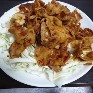 【韓国家ごもり】 おやじ御飯 これも料理名無い豚肉の一味焼き?
