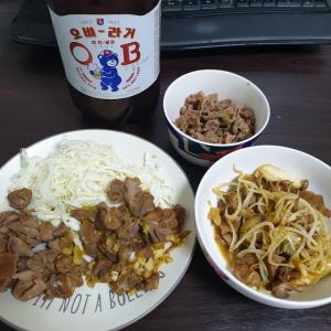 【韓国家ごもり】 おやじ御飯 過去最高にしんどかった 砂肝 >< 量多すぎだよ~~~