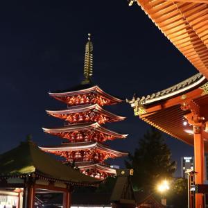 夜の浅草寺散策。境内の夜景が素晴らしい。東京のオススメ撮影スポット1