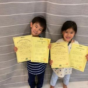 双子の英語試験の結果。