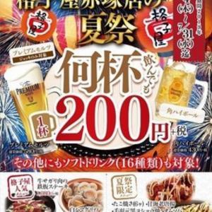 格子屋 「格子屋の夏祭り 何杯飲んでも1杯200円」 (茨城 水戸)