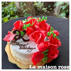 真っ赤な薔薇のオーダーバースデーケーキです