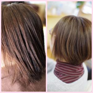 縮毛矯正でゴワゴワバサバサ傷んだ髪を改善♪マイナス5才以上、若返ります👍✨