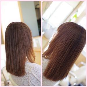 白髪染めと縮毛矯正でマイナス10才👍✨方法論は…素髪による改善です(^^♪