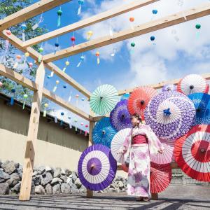 夏を感じさせてくれる風車棚&風鈴の道。武家屋敷旧田村家(大野市)と一乗谷朝倉氏遺跡(福井市)に行ってみました【浴衣ポートレート】