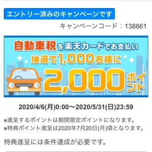 自動車税を楽天カードで支払うと2,000ポイントがもらえるかも