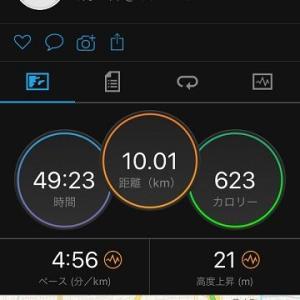 久しぶりにビルドアップ走10km