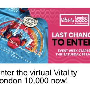 Virtual Vitality London 10,000の登録は金曜日まで
