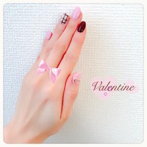 ピンクと焦げ茶=チョコレート=バレンタイン ♡゛