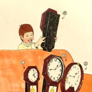 念願の振り子時計を手に入れた息子