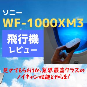ソニーWF-1000XM3の飛行機レビュー。映画のセリフがクリアに聞こえるノイキャンが凄い!