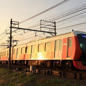 静岡鉄道は県総合運動場駅付近 夕陽ピカのA3000 (2018年11月)