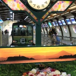 江ノ電は藤沢駅ホーム (2020年1月 神奈川旅 大船へ移動  オマケ、急行「東海」)