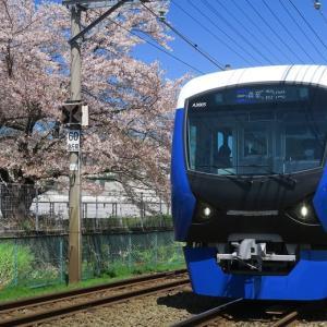 静岡鉄道はA3000とソメイヨシノ (2019年4月 長沼-柚木 在庫でドン)
