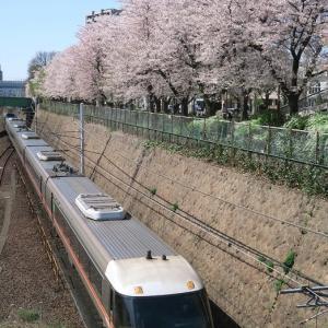 特急「ワイドビューしなの号」 金山駅付近とソメイヨシノ (2018年4月)