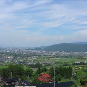 長野県は篠ノ井線 姨捨駅付近から見える善光寺平 (2014年8月1日)