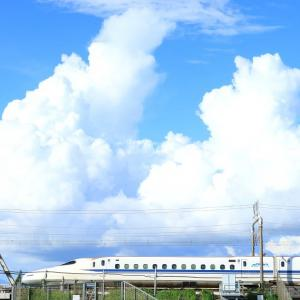 天竜川橋梁を渡る新幹線、普電、66貨物 (2020年9月)
