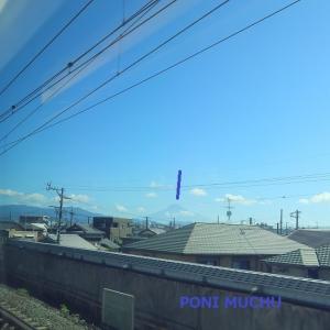東海道新幹線は掛川-三島間で見える富士山 (2021年7月 右富士、左富士)