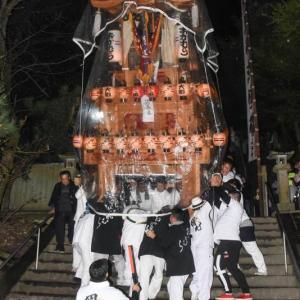 階段下し 岡村だんじり(屋台) 三嶋神社祭礼宮入り 小松祭り2019 愛媛県西条市小松町
