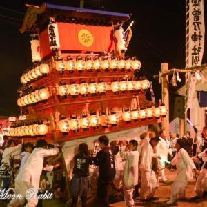 常心下組だんじり(屋台) 川入り後 御旅所 西条祭り2018 愛媛県西条市