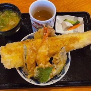 どんぶりからはみ出る大穴子と大海老の天丼がお得に食べれるよ~「炭火焼き・寿司 海鮮つるべ」