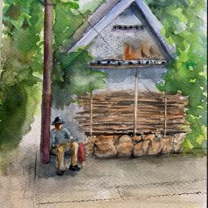 農業用材木の有る風景