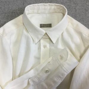 綿麻ヘリンボーン生地でシャツを作りました♪