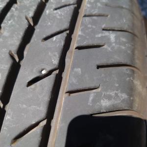 牽引車のタイヤがパンクっす 自転車の空気入れで空気が入るのか試してみました