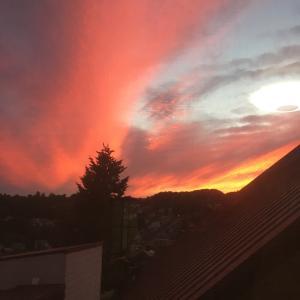 燃えるように赤い夕日