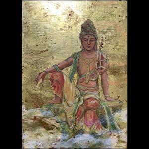 水月観音菩薩を描きました!世界の平安を祈って!