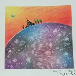 キラキラ神秘的なアート『金宝山~テレ・サテン』*パステル会