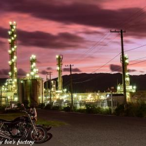 CB1100 オールドレンズでオートバイと工場夜景 続編