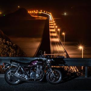 CB1100 夜の角島大橋ツーリング