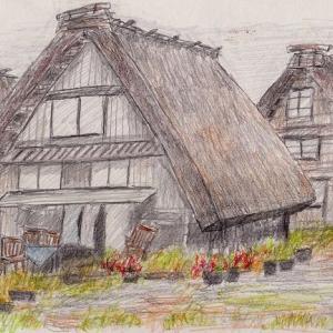 雨降り紅葉の白川郷