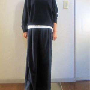 プレミアムクルーネックセーター(ネイビー)+ユニクロU白Tのレイヤード