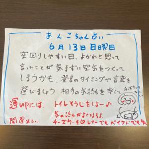 あんこちゃん占い6月13日日曜日(^^)