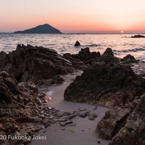 糸島夕景 黄昏オレンジ色の風景