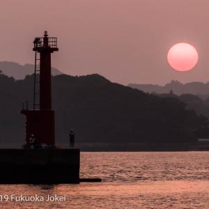 福岡風景写真 ノスタルジックなオレンジ色の夕景