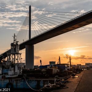 博多湾情景 須崎埠頭夕景 2021年5月