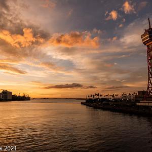 博多湾情景 博多埠頭 雲のある景色 2021年7月 後編 夕焼け風景