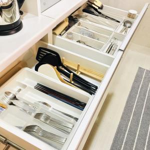 ダイソーのコレを仕切りに^^食器棚カトラリーの引き出しを掃除!