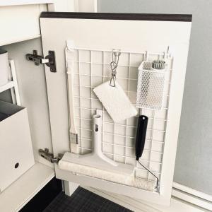 洗面台の掃除をラクにする仕組み作り!!その③  ダイソーグッズで洗面台下の扉裏収納